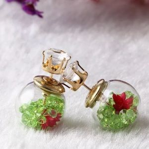 Jewelry - Green crystals tribal stud ball earring